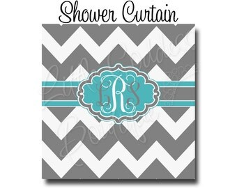 "Custom Personalized Monogram Shower Curtain - You Choose Size , 70"" x 70"", 70"" x 90"", or ANY size Chevron Gray"
