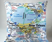 New Orleans Map Pillow Cover Only