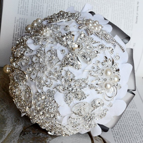 Vintage Bridal Brooch Bouquet - Pearl Rhinestone Crystal - Silver White Grey - One Day RUSH ORDER Availabe - BB012LX