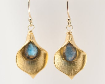 Labradorite Earrings - Calla Lily Earrings - Gold Earrings - Nature Inspired Jewelry