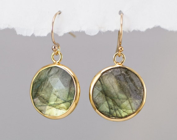 Round Labradorite earrings - Drop Earrings - bezel earrings - round gemstone earrings - gold earrings