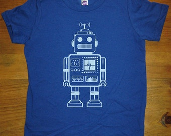 Robot Shirt - Retro Robot Kids Shirt - 8 Colors Available - Sizes 2T, 4T, 6, 8, 10, 12 - Gift Friendly