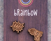Wooden Ray Gun Earrings