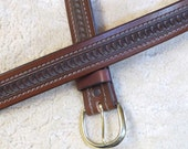 Hand-tooled Heavy Leather Belt - B11094S - Nylon-Stitched - Snap-on buckle.  Ships Free in the USA