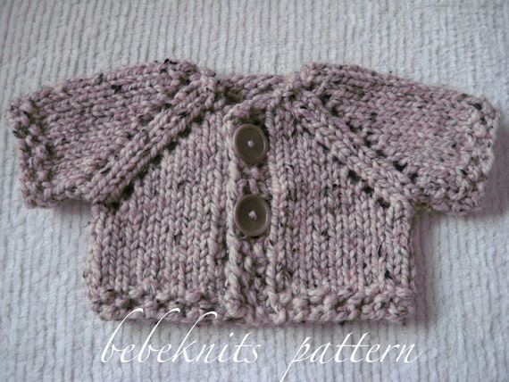 Bebeknits Quick Knit Two Button Baby Cardigan by bebeknits on Etsy