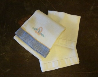 A Set of 3 White and Blue Vintage Linen Dish Towels TeaTowels White Work Borders Embroidered Country Cottage Farmhouse