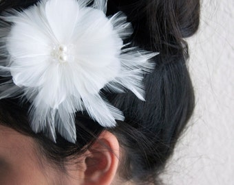 White Peony Feather Clip - Bridal Peony Feather Clip