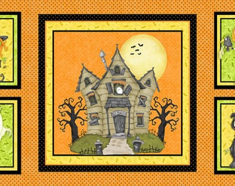Jeepers Creepers 23x44 Haunted House Panel Halloween fabric by Henry Glass