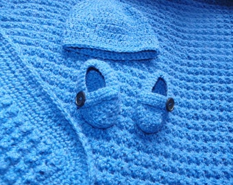 "Baby Boys Afghan Hat and Booties Set Blanket Size 29""x33"""