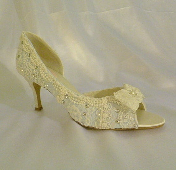 Something Blue Wedding Shoes ..mid heel...baby blue lacey wedding shoes...peep toes...  FREE Shipping within the USA