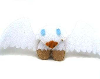 Griffin Plushie Totem--miniature felt plush kawaii fantasy creature stuffed animal with white wings