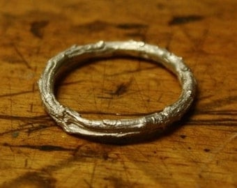 Rustic Evergreen Twig Ring Sterling Silver