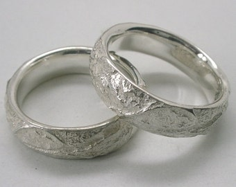 Leaf Bark 'D Shape' Wedding Bands, Sterling Silver