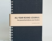 All Year Round Timeless Journal / Planner (Self-filled dates, fabric wrapped) - Black Polkadots