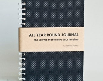 Weekly Planner A5 Size (Undated) All Year Round Timeless Journal - Black Polkadots