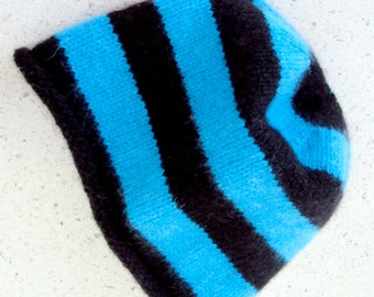 100% cashmere baby beanie in turquoise&black stripes