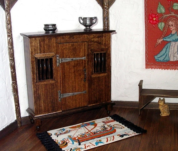 Medieval Livery Cupboard Rustic Dollhouse Miniature 1 12