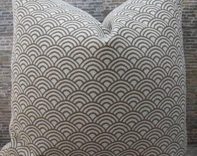 Designer Pillow Cover - Scallop Geo Textured Jacquard Pebble Brown - Lumbar, 16 x 16, 18 x 18, 20 x 20