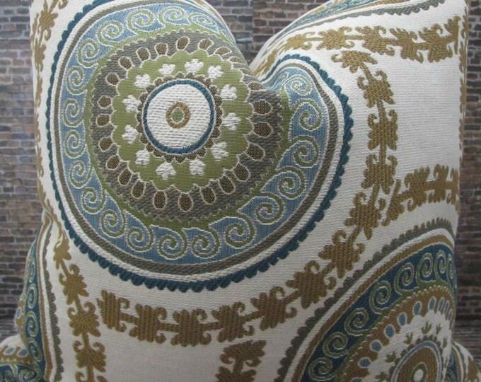 SALE Designer Pillow Cover  Lumbar, 16 x 16, 18 x 18, 20 x 20, 22 x 22 - Emie Suzani Jacquard Teal