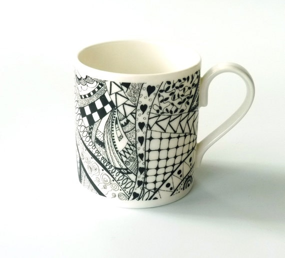 black and white doodle mug