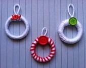 Mini Wreath Ornaments. Set of 3. Christmas Ornaments. Yarn Ornaments. (C13) READY TO SHIP