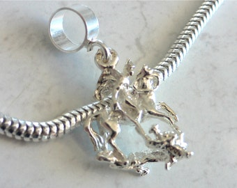 SAINT GEORGE Slaying The DRAGON Sterling Silver Charm Fits All Slide On Bracelets