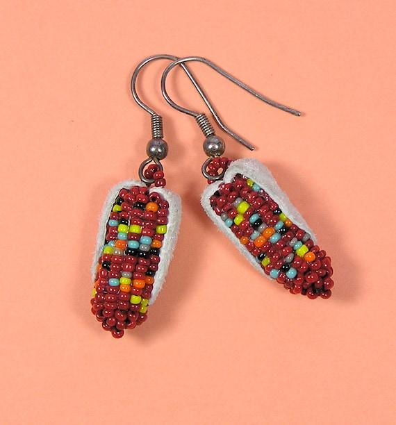Vintage Indian Corn Ear Seed Bead Earrings
