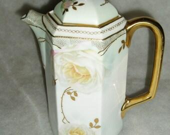 Chocolate Pot, ES Germany, Peony Design, Stunning!