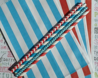 Dr. Suess Red and Blue Stripe Candy Bags Medium for Candy Bars, Party Treats and Gifts - 50 count