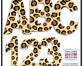 Leopard Animal Print Digital Alphabet and Number Clipart INSTANT DOWNLOAD