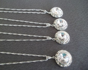 Clear Crystal Necklace,Swarovski Clear Rivoli Crystal,Crystal Bridal Necklace,Wedding Necklace,Bridal Pendant Necklace,Bridesmaid Jewelry
