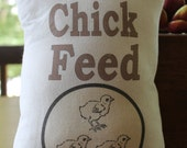 Chick Feed Sack Pillow, Burlap & Muslin, Farm, Spring, Easter Decoration