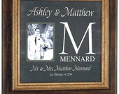 Custom Wedding Monogram, Wedding Gifts for Parents, Personalized Wedding Gift, Personalized Picture Frame, Personalized photo mat, 16 X 16