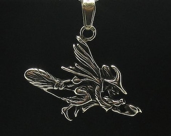 PE000268 Sterling silver pendant  925 charm witch solid
