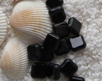 Glass Beads - Flat Square - 10mm - Black - 50 pcs