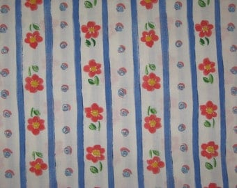 Red flowers and blue stripes on white 1 yard cotton fabric
