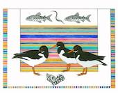 Watercolour Painting Original Art Illustration Oystercatchers Multicolored Stripes Beach Scene Contemporary Pen Ink  Shore Birds