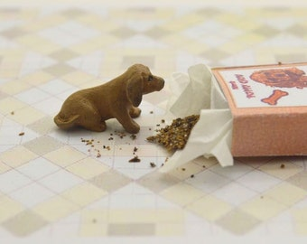 Miniature OOAK hand carved wood tiny Dachshund puppy in a little puppy chow box dog breed pet  by IGMA Fellow Linda Master Miracle Chicken