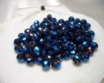 Crystal beads, 3 x 4mm, metallic blue, 75 rondelle beads, blue, 4mm faceted glass beads, crystals, peacok blue, dark blue, iridescent