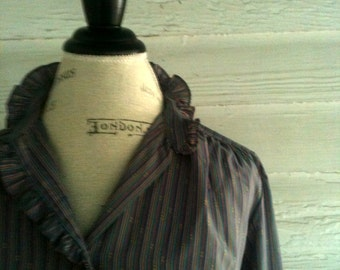 Vintage 70s Pinstriped Blouse - Grey and Pastel Striped Blouse with Ruffle Neck