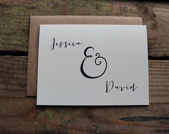 Wedding Thank You Cards with Envelopes / Bride and Groom Name / Ampersand / Rustic / Classic Stationery / Set of 10