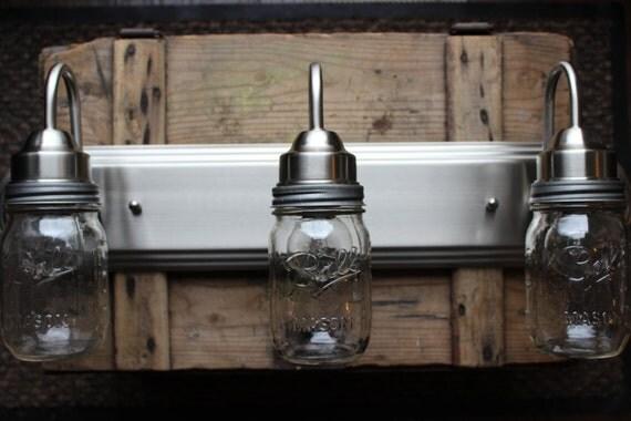Mason Jar Vanity Light // Brushed Nickel // Rustic Decor