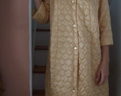 Robe Gold Quilted Robe Button Front
