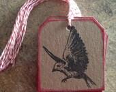 Bird in Flight stamped handmade Chipboard Gift Tag (1dozen)