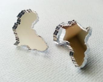 Africa Earrings - Africa Shaped Earrings - Africa Shaped Studs - Mirror Africa Earrings - Mirror Earrings
