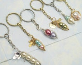 Peas in a Pod Keychain, Choose your Style, Pearl Color, and Metal Color,  2,3, or 4 peas