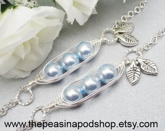 Set Of 2 - 3 Sweet Peas In A Pod Silver Bracelets Choose Your Color or Number of Pearls For Mother's Sister Grandma Best Friends