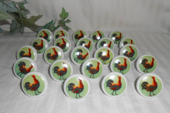 Vintage Porcelain Rooster Drawer Pulls Country Kitchen Pulls