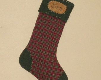 Primitive Christmas Stocking - Personalized - Homespun Plaid - Maroon & Green - Green Cuff,Toe and Heel - Homespun Christmas Stocking