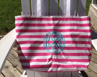 Large Monogrammed Tote Bag/ Personalized Tote Bag/ Waterproof Bag/ Oilcloth Bag/ Diaper Bag Personalized Beach Bag in Pink Stripe woth Aqua